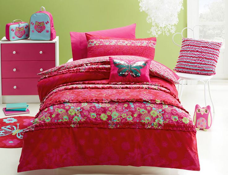Katrina Quilt Cover Set Doona Duvet Cover Girls Bedding Floral Red Flowers Ruby