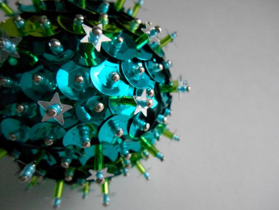 Turquoise and Lime Green Sequin Bead Christmas by teensyturtle, $10.00