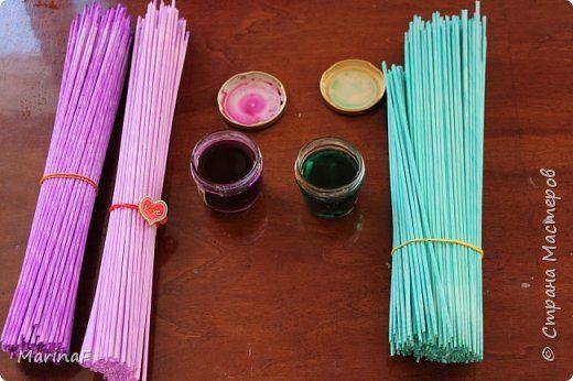 Мастер-класс Материалы и -barvení fixama-инструменты Плетение Окраска бумажных трубочек Трубочки бумажные фото 2