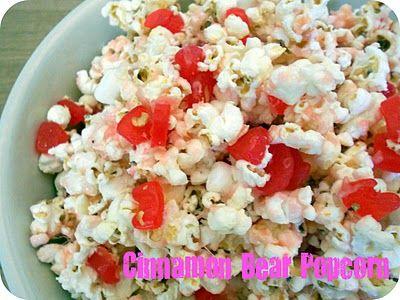 Cinnamon Bear Popcorn- the perfect snack for a movie night! SixSistersStuff.com #Snack #Dessert #Recipe
