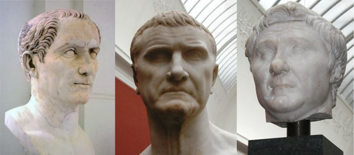 The First Triumvirate started in 60 BC when Caesar reconciled the feuding Crassus and Pompey.