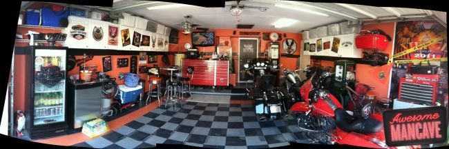 The Great Harley MANCAVE, | man cave decor with class ...