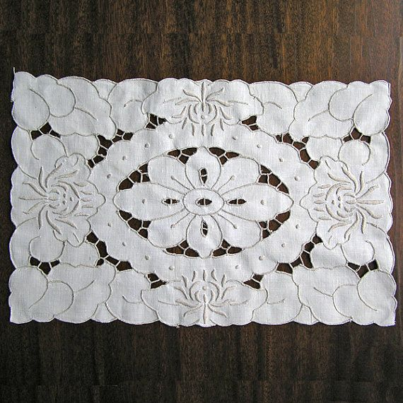 Vintage cutwork embroidery 1960s doily Handmade by MyWealth, $4.00