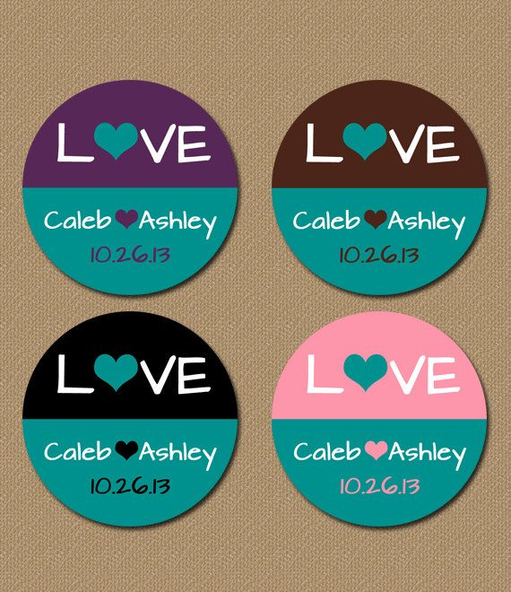 Personalized Teal Wedding Favor Stickers 800