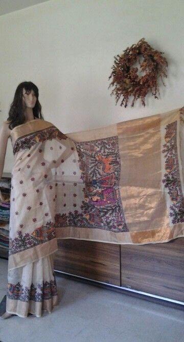 Madhubani  painting on chattinad silk