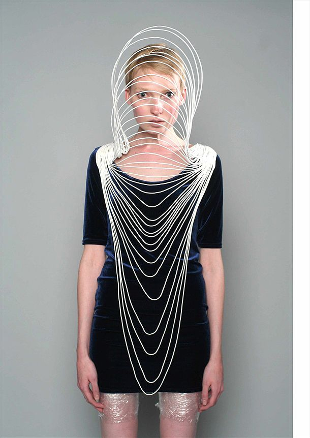 "Sculptural Fashion - copper, crystal & enamel, 3D cage structure; wearable art // ""Incarcerated Bodies"" Olga Noronha"