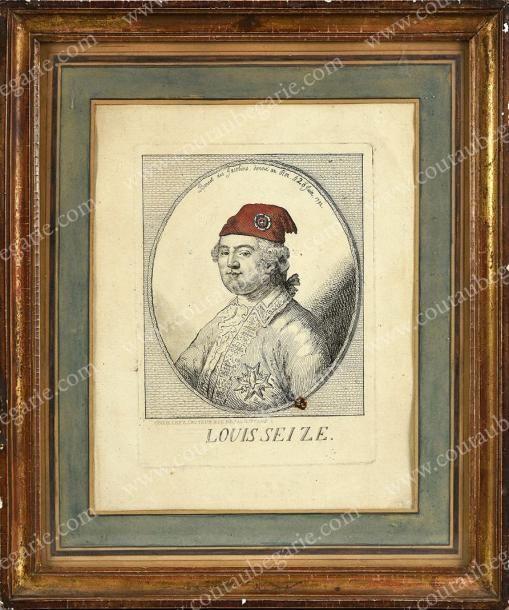 ÉCOLE FRANÇAISE DE LA FIN DU XVIIIe SIÈCLE Le roi Louis XVI portant un bonnet phrygien, signée Le Nive,  des Jacobins, donné au roi le 20 juin 1792