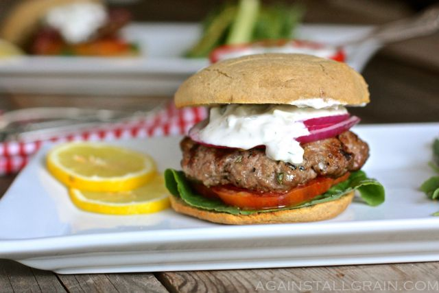 Greek Gyro Burgers - skip the bun and substitute coconut milk for greek yogurt.
