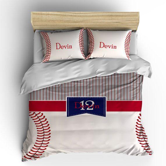 Monograma de béisbol de rayas y puntos ropa de cama por redbeauty