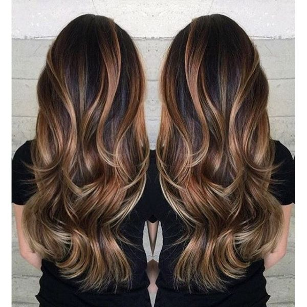 Gorgeous long brunette hair with rich blonde balayage hair color by Janai Hartt www.hotonbeauty.com by rena
