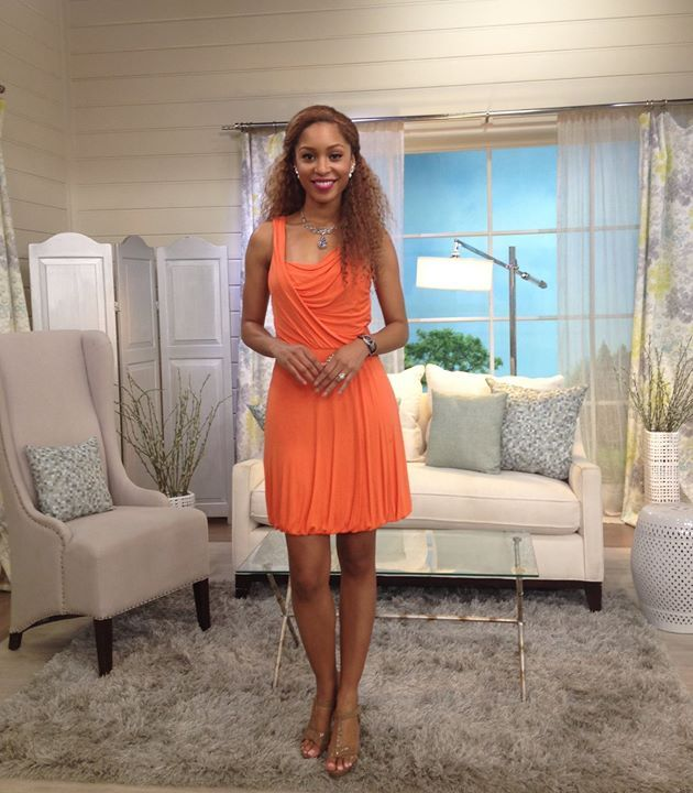 Here's the lovely Brenda at QVC modeling Carolyn's jewelry!