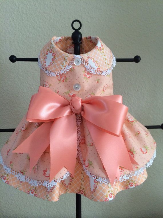 Pretty in Peach Ruffled Pinafore Dog Dress Small by princessamee, $70.00