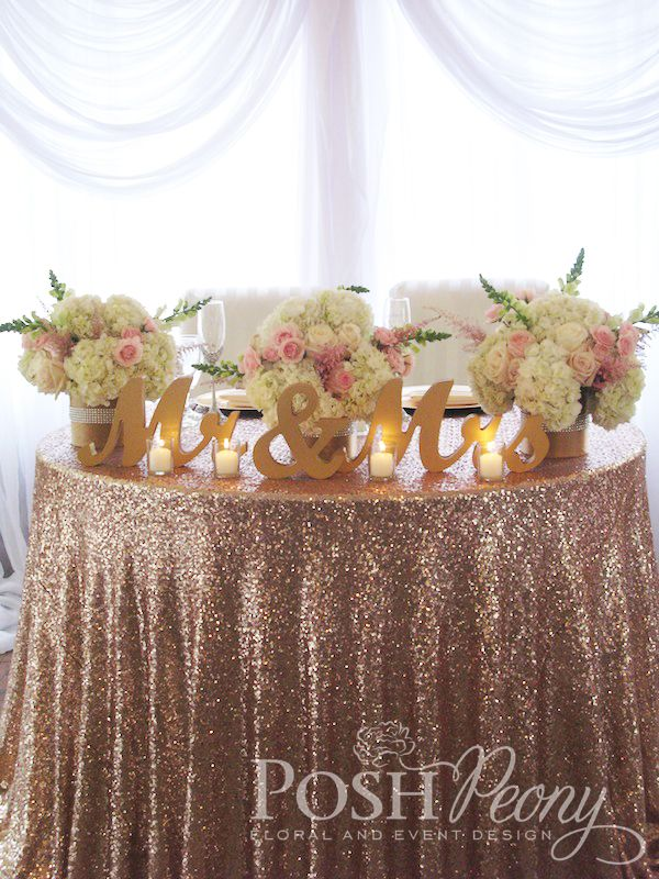 Los Willows Fallbrook Wedding: Gorgeous blush pink wedding adorned with roses and orchids, crystals, and ombre details. www.poshpeony.com Sweet heart Table