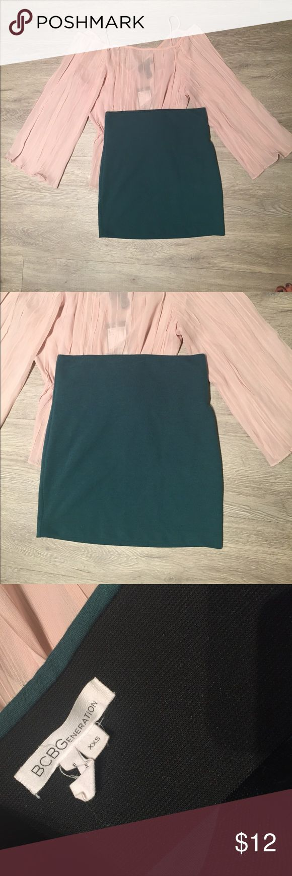 BCBGeneration Mini Skirt Forest Green BCBGeneration Fitted Mini  Skirt. Looks great with heels and tucked in Blouse. For a trendier look try a Blouse and sneakers. BCBGeneration Skirts Mini