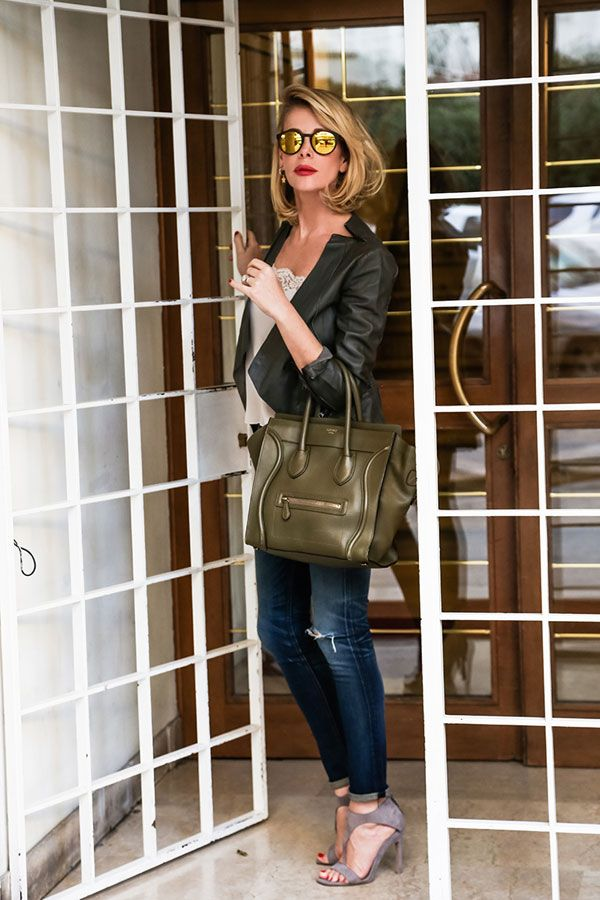 Love the Celine bag!!! <3 <3 <3 http://www.lapinella.com casual chic outfit!leather jacket