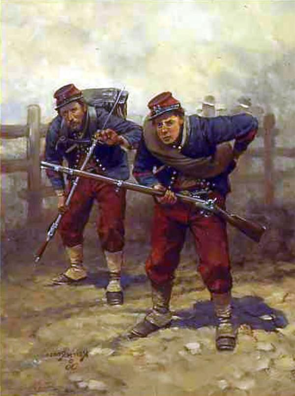 14th   Brooklyn soldiers in the distinctive uniform design based on that of the French Chasseurs.  T