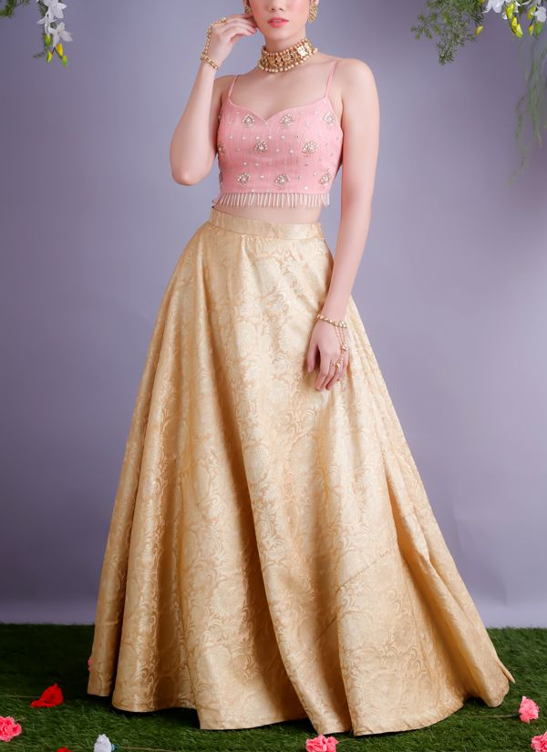 6c573231f3a Renee Label | Blush Pink Crop Top With Golden Lehenga | Shop Lehengas at  strandofsilk.com