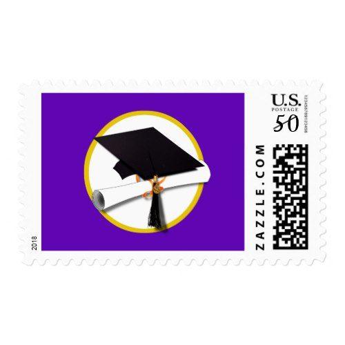 Graduation Cap w/Diploma - Purple Background Postage