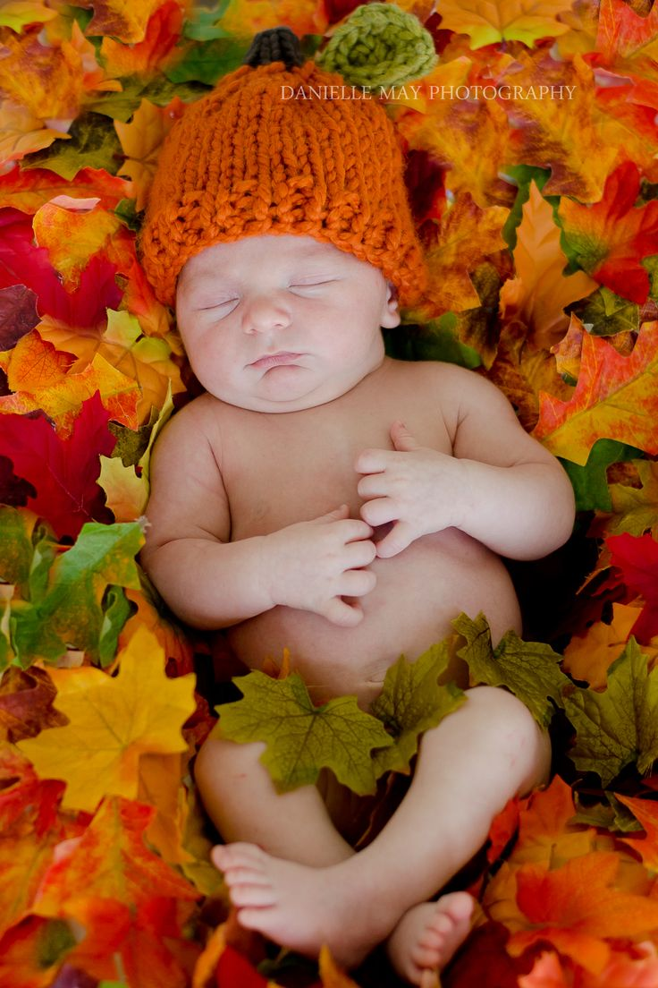 DIY Fall newborn photography prop. I took an old blanket and hot glued fake leaves all over it to lay over my beanbag! Easy and inexpensive!