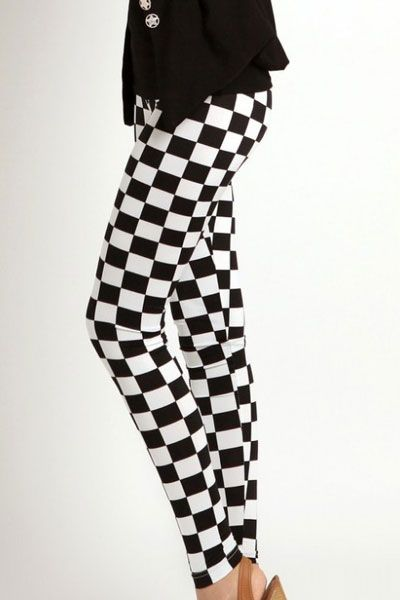 Black White Check Pattern Leggings