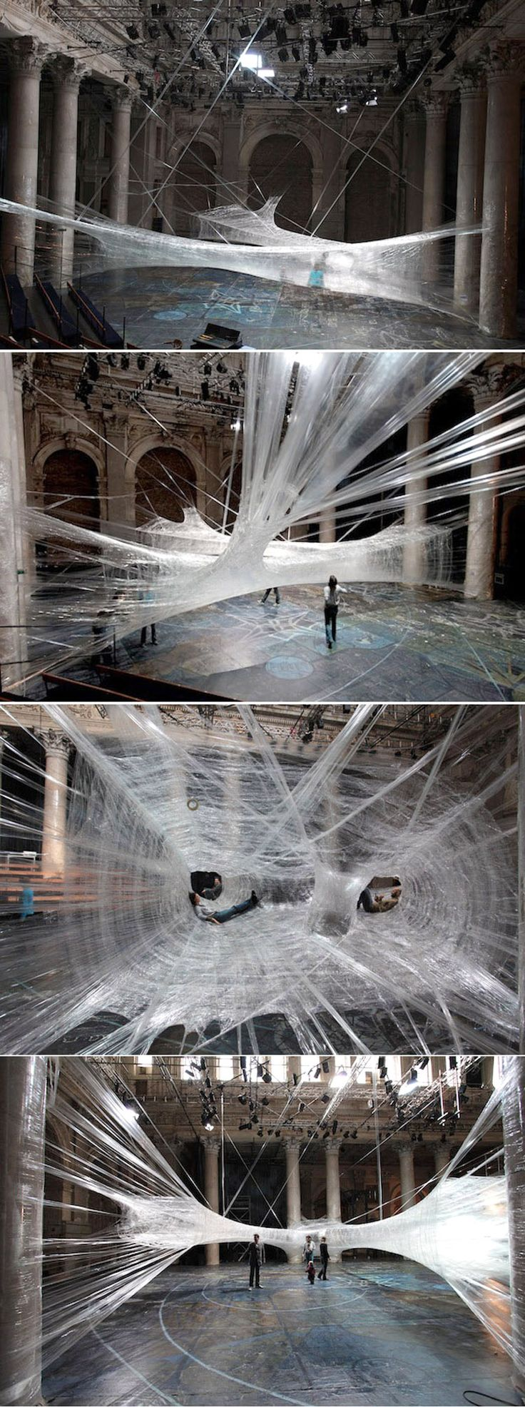 Sick Spider Web Installation Made of Packaging Tape     http://www.mymodernmet.com/profiles/blogs/sick-spider-web-installation
