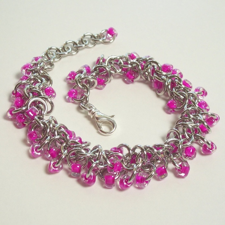 Fuchsia Pink Shaggy Loops Bracelet Chainmaille Jewelry Seed Beads. $24.00, via Etsy.