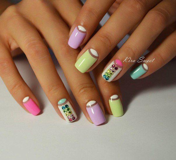 Beautiful nail colors, Colorful moon nails, Colorful nails, Half-moon nails ideas, Nails ideas 2017, Nails with stones, Spring moon nails, Spring summer nails 2017