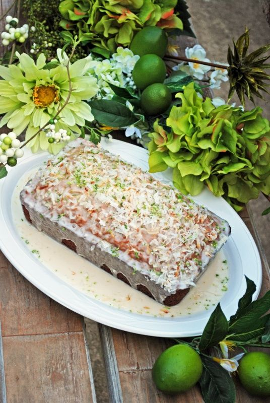 Coconut Banana Bread with Coconut Rum Lime Glaze