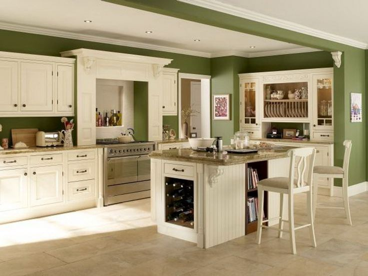 Awesome Green Kitchen Walls with White Cabinets