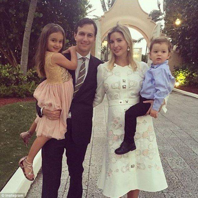 Blessed family: Ivanka Trump shared this photo of her posed with her husband Jared and the...