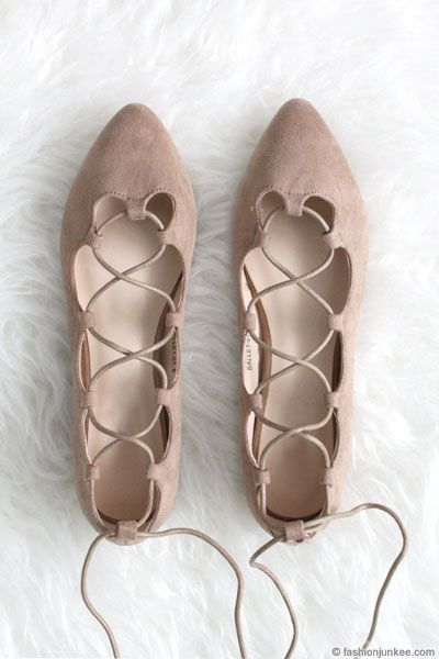 Faux Suede Pointy Lace Up Strappy Ballet Ballerina Flats-Nude