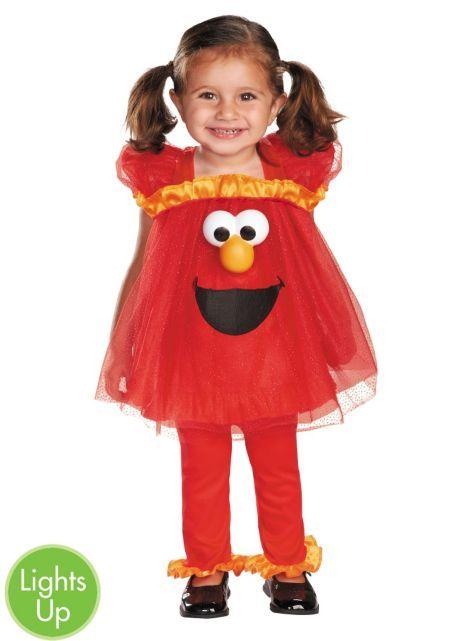 Toddler Girls Frilly Elmo Light Up Costume Sesame Street - Party City
