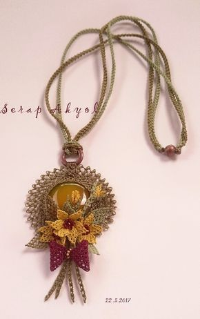 #takı#taşlı kolye #iğne oyası #needlelace #necklace