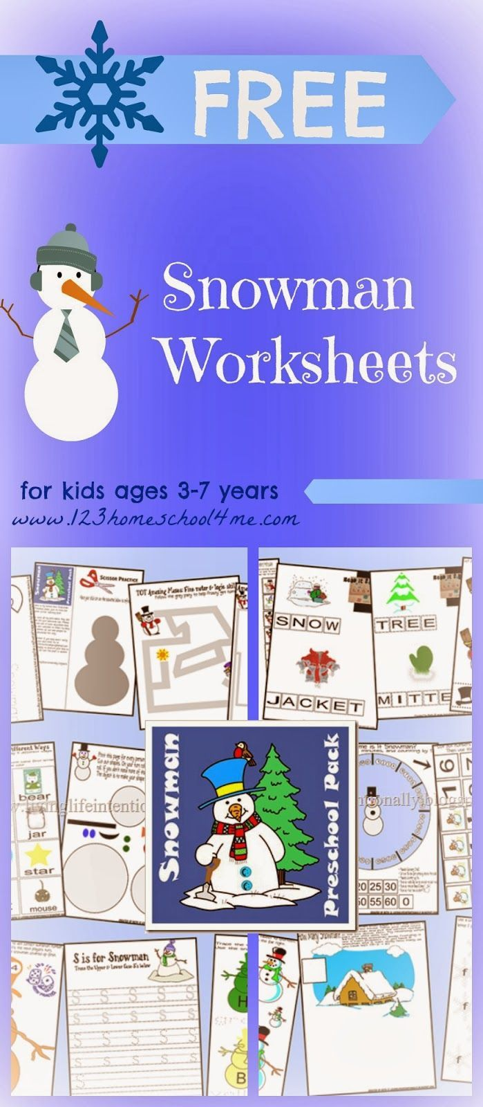 {FREE} Snowman Preschool Pack worksheets for kids - FREE snowman worksheets for toddler, preschool, kindergarten, and 1st grade