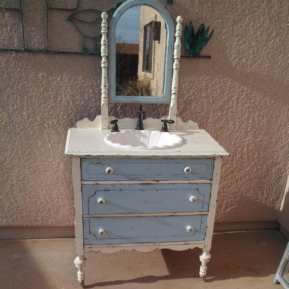 Repurposed antique dresser bathroom vanity sink country cottage decor pinterest dresser for Antique dresser bathroom vanity