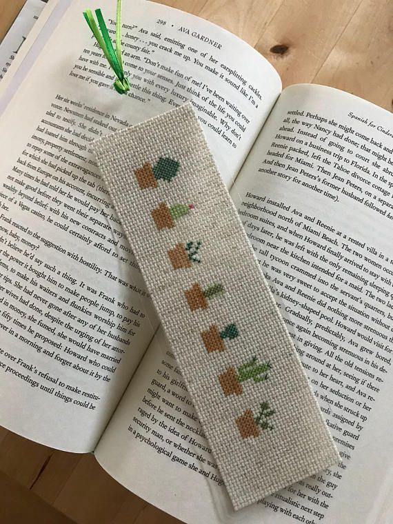 Cross stitch cactus bookmark for readers