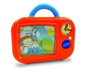 B Kids Musical Tv A great traditional toy. It has a wind-up mechanism. Size: H25, W23, D6cm. The easy-tote handle is perfect for young hands. http://bit.ly/13qBfm6
