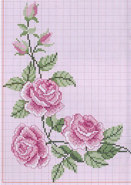 Gráfico de rosas em ponto cruz para toalhas