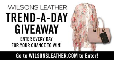 Enter Daily to win in Wilsons Leather's Trend-a-Day Giveaway! Each day they are giving away a different prize now thru 3/4/19. #win #giveaway #trends #spring