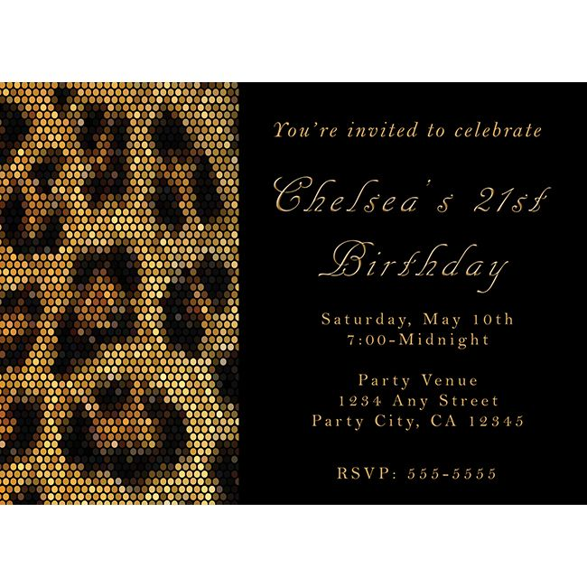 Cheetah Print Items | Leopard Cheetah Print Sparkle Black Party Invitation | Printable Digi ...