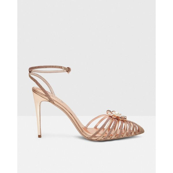 Ted Baker Embellished sling-back heels ($180) ❤ liked on Polyvore featuring shoes, sandals, rose gold, ted baker sandals, sling back sandals, slingback shoes, sling back shoes and floral-print shoes