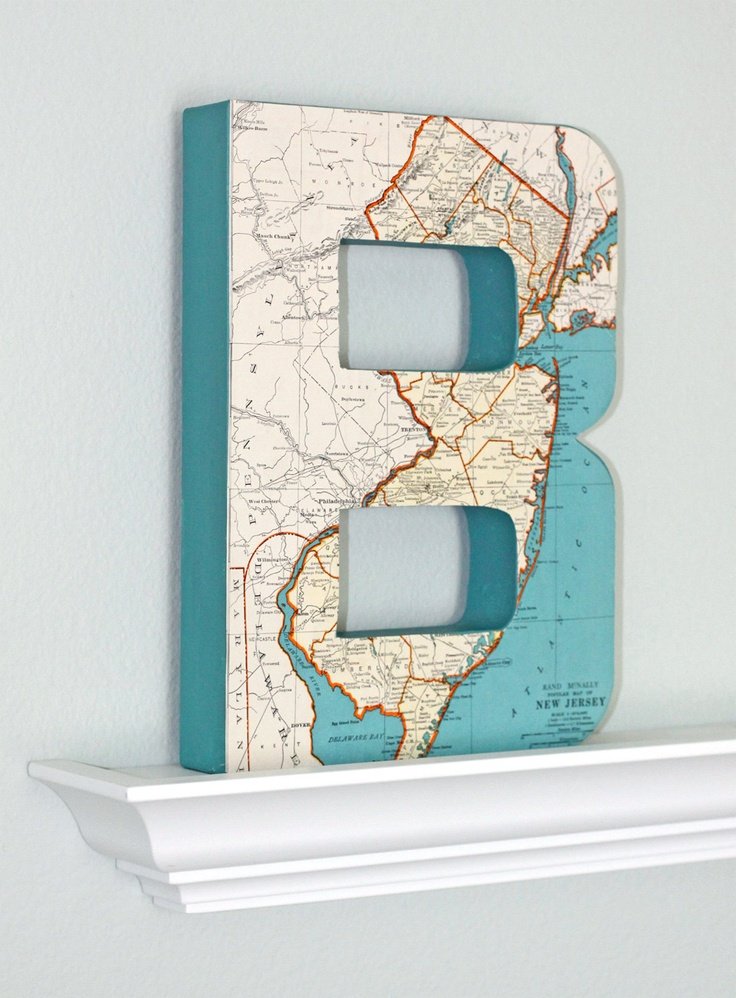 large vintage map letter 12 inches tall customize home decor