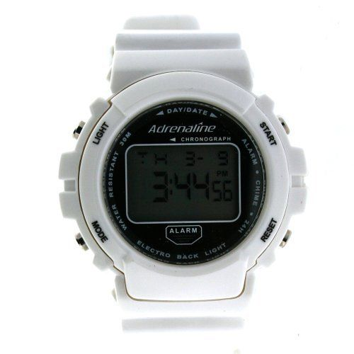 Adrenaline by Freestyle Digital Sport Watch Chronograph Alarm White Geneva. $29.95. Alarm with Snooze. Hour Minute Second Day and Date Display. 1/100 second Chronograph Stopwatch. Digital Watch. EL Backlight