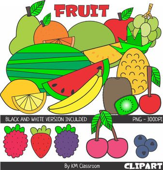 Fruit ClipArt Set 2 includes 36 images (20 color +16 line art): - green apple - red apple - yellow apple - banana - green pear - yellow pear - kiwi - orange - green grapes - purple grapes - raspberry - blueberry - blackberry - strawberry - watermelon - melon - pineapple - lemon - cherry - two cherries