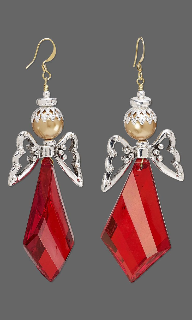 Jewelry Design - Earrings with Acrylic Focals, Antiqued Silver-Plated Pewter Beads and Swarovski Crystal - Fire Mountain Gems and Beads