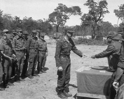 """Angolan, Cuban, and Soviet officers present medals for """"The Defense of Cuito Cuanavale"""