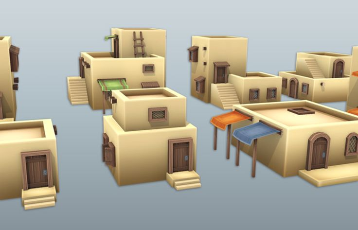 With this package you can easily build the whole Arabic Desert City!   And the fully modular system will help you to make a hundreds of customization!  - Low Draw Calls  - Pure Low Poly  - Fully Modular  - 10 Ready to use Buildings  - Scene Included - 51 Building Parts - Prefabs with coliders