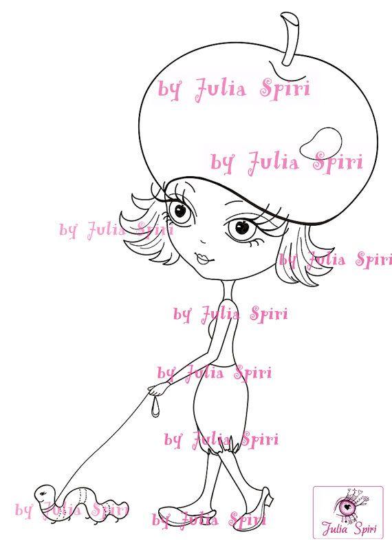 Sellos digitalaes, Álbum de recortes, Clip art, Dibujo de muñecas, Imagen digital, Descarga instantánea. La chica de la manzana.