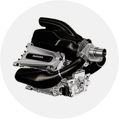 The current F1 engine is a four-stroke turbocharged, direct injection 1.6-litre unit. It has six cylinders arranged in a 90° V layout and a limit of 15,000rpm.  The engine is designed to work in harmony with the other elements of the hybrid F1 Power Unit.