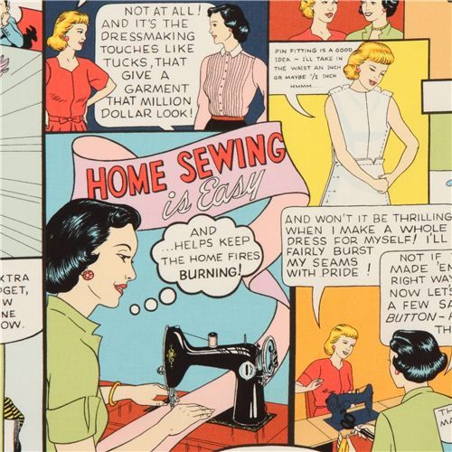 retro 50s sewing advertising fabric by Alexander Henry USA